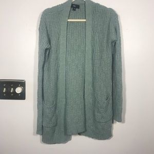 MOSSIMO Light Green Open Cardigan with Pockets, M